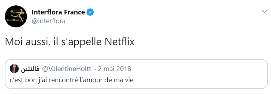 Tendance digitale avec le Tweet d'interflora citant Netflix