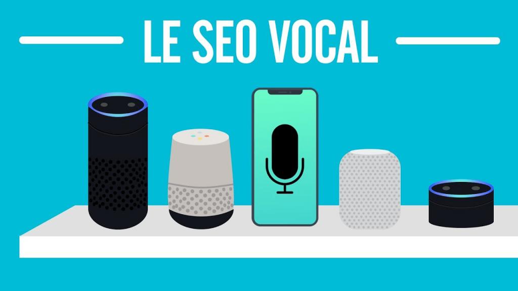 La tendance du SEO vocal avec Google home, alexa d'amazon et un téléphone représentant la recherche vocale pour le SEO
