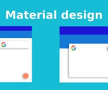 Exemple du material design sur un smartphone et un ordinateur