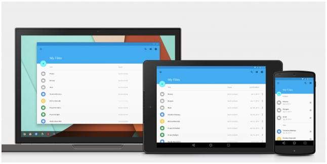 exemple du material design sur 3 types d'écrans différents