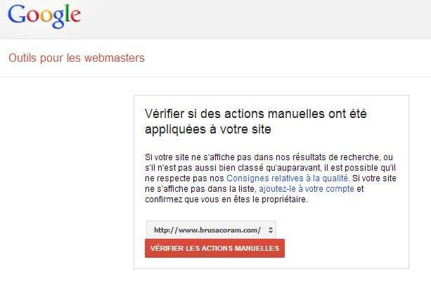 vérification dans la Google search console s'il y a eu une pénalité manuelle de Google