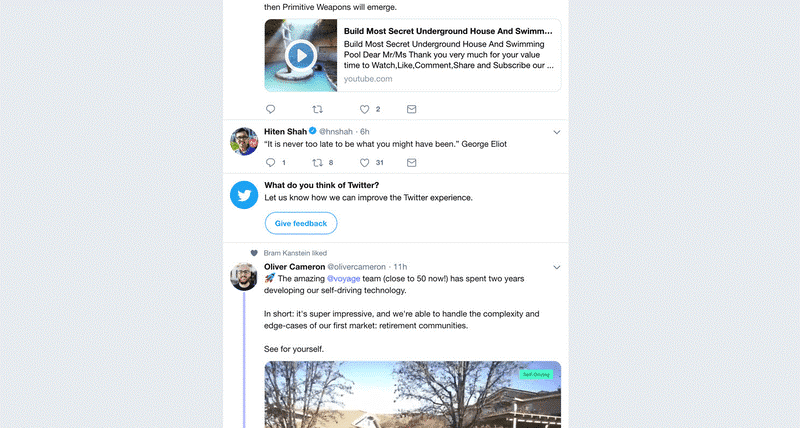 twitter demande d'avis - marketing in-app
