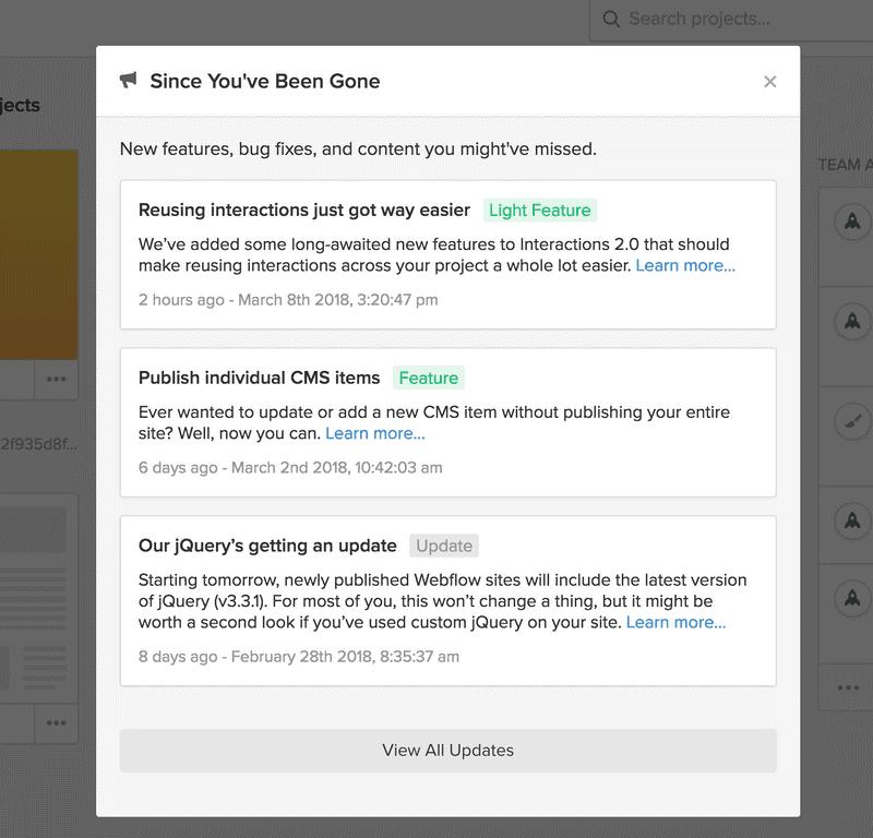 flux web nouvelles fonctionnalités - marketing in-app