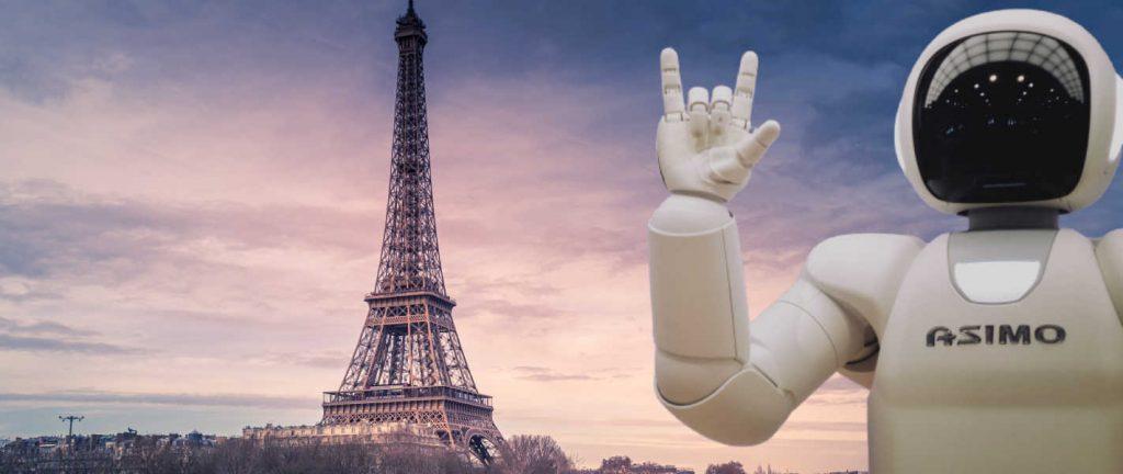 tour Eiffel représentant l'administration francaise et un robot représentant l'intelligence artificielle