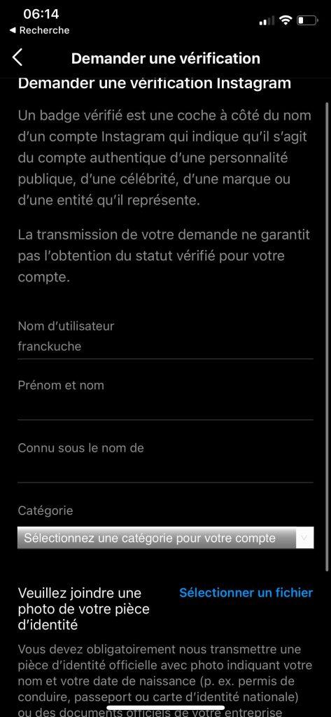 certification instagram documents identite